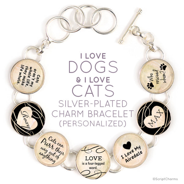 I Love Dogs and I Love Cats - Silver Plated Charm Bracelet