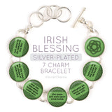 Irish Blessing Silver-Plated Charm Bracelet with Celtic Rose Design
