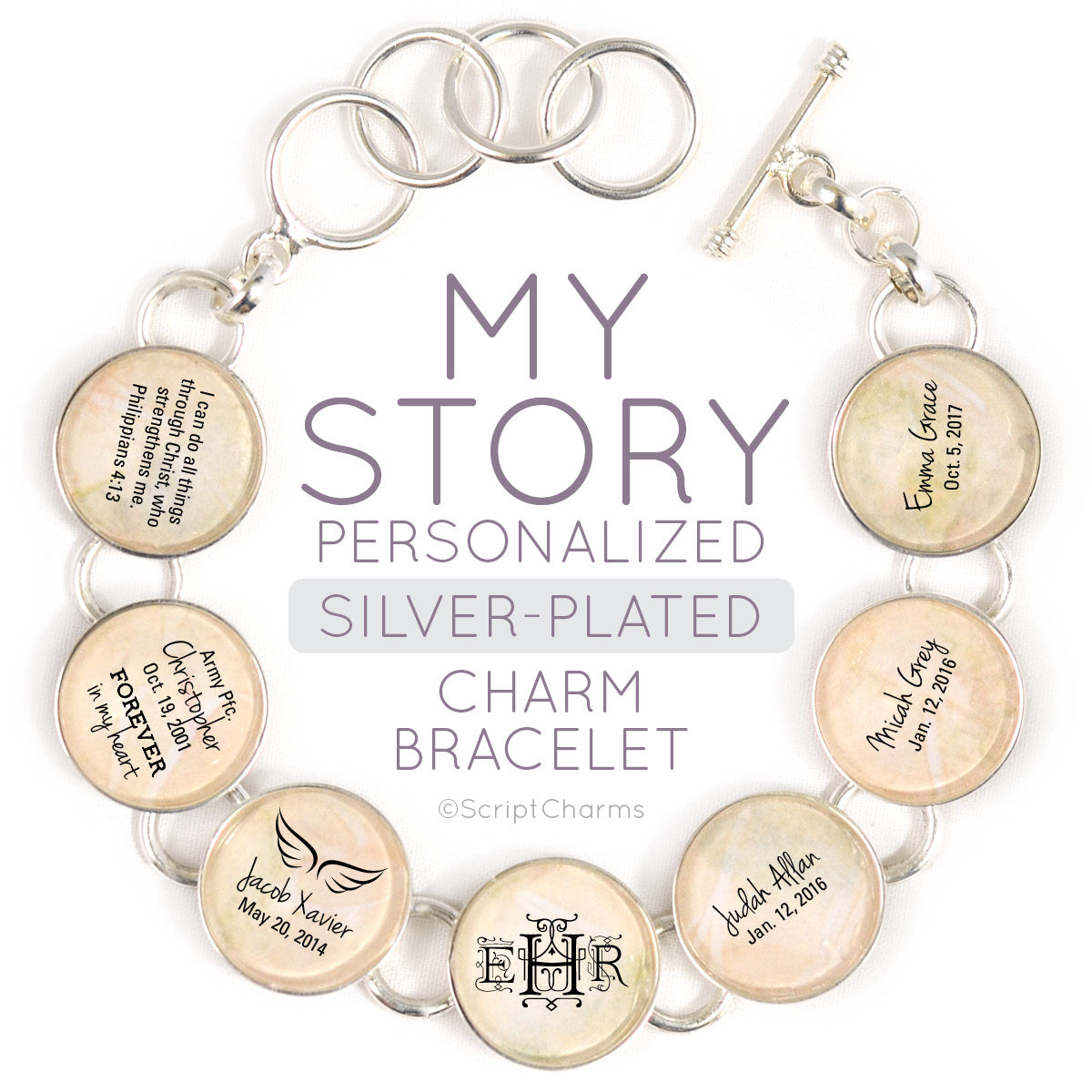 My Story - Silver-Plated Personalized Charm Bracelet