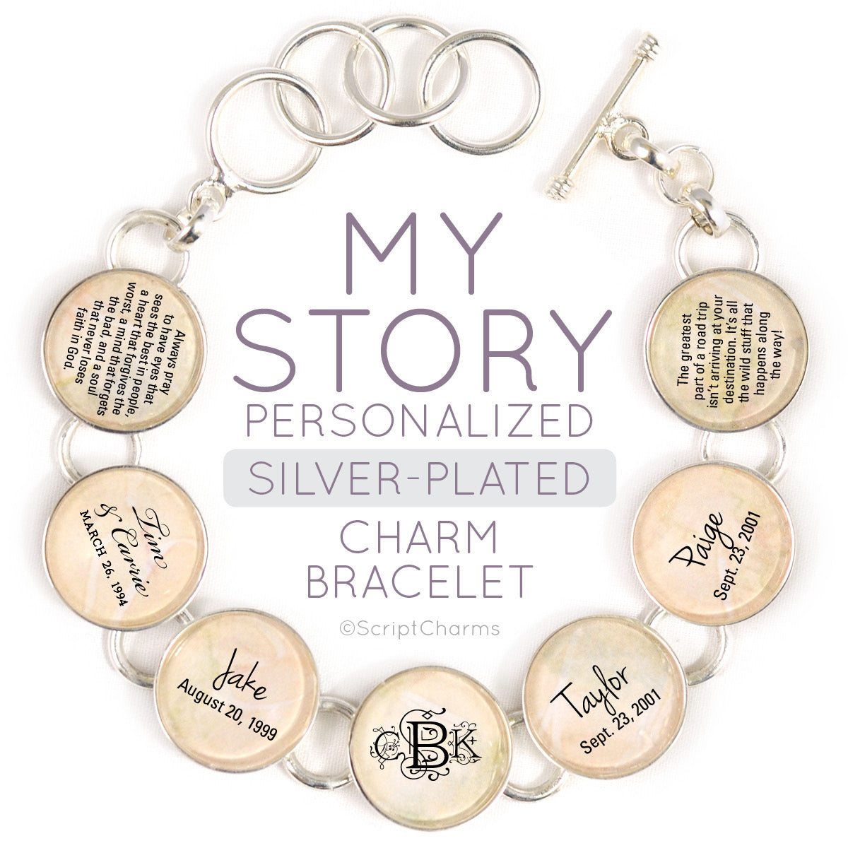 My Story Silver Plated Personalized Charm Bracelet