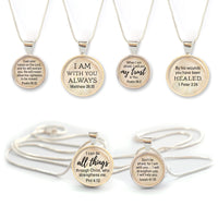 Bible Verse Scripture Silver Pendant Necklace - Christian Jewelry - 2 Sizes (16mm & 20mm)