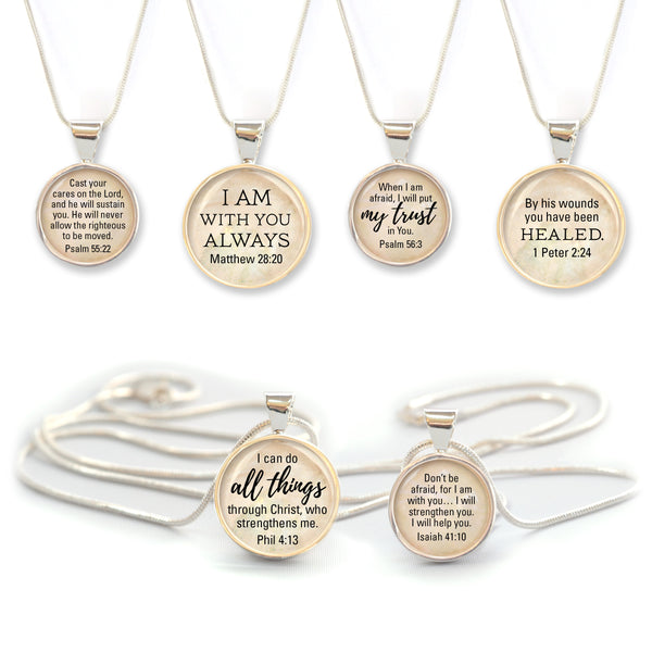 Bible Verse Scripture Silver Pendant Necklace - Christian Jewelry - 2 Sizes