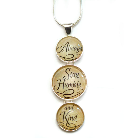 """Always Stay Humble and Kind"" Silver-Plated 3-Tiered Christian Pendant Necklace"