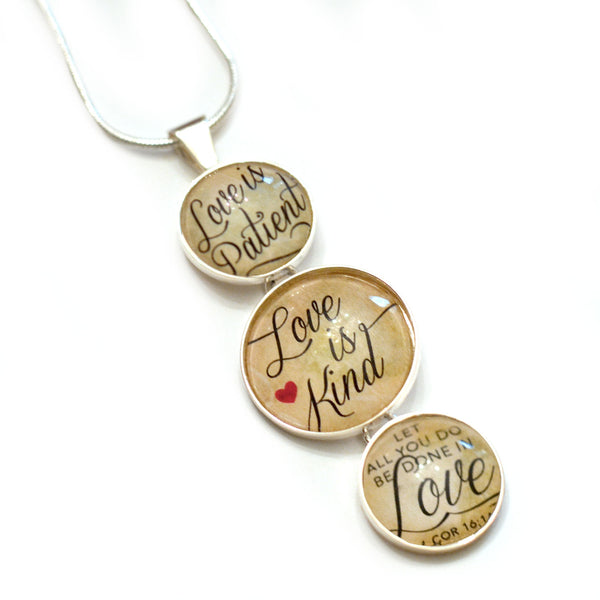 """Love is Patient, Love is Kind"" 1 Corinthians Scripture Silver-Plated 3-Tiered Pendant Necklace"