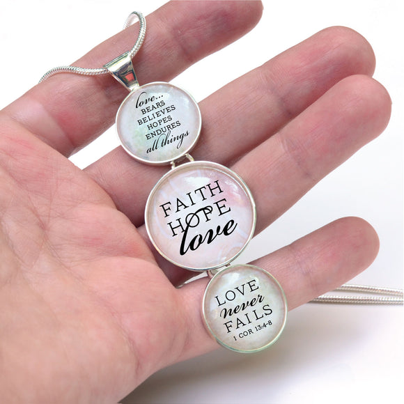 """Faith, Hope, Love – Love Never Fails"" 1 Corinthians Scripture Silver-Plated 3-Tiered Pendant Necklace"