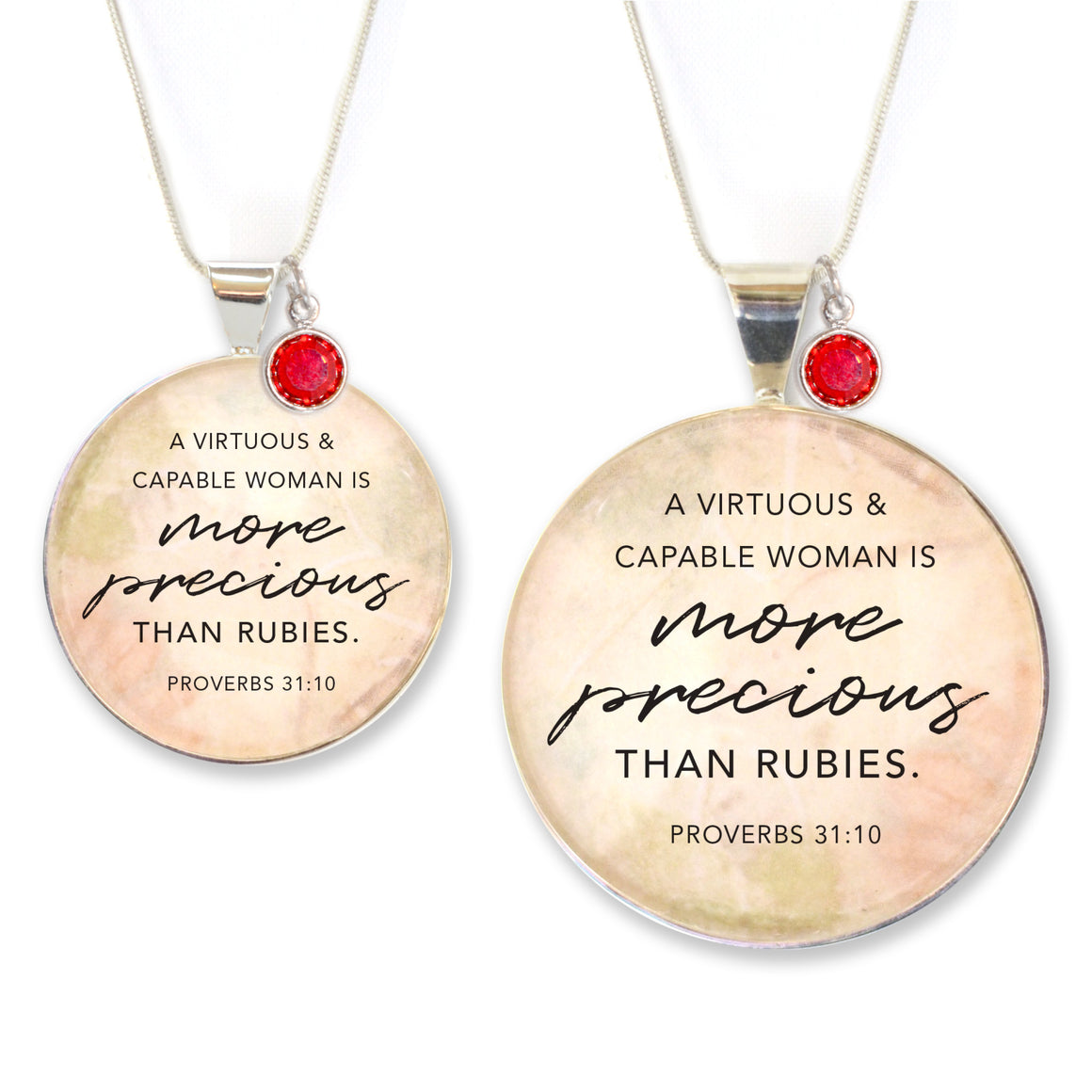 More Precious Than Rubies – Proverbs 31 Silver Pendant Necklace with Swarovski Rhinestone