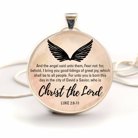 "Christmas Angels ""Fear Not"" Luke 2:8-11 Bible Verse Charm Necklace (Large)"