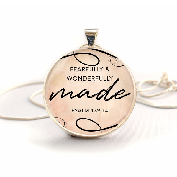 Fearfully and Wonderfully Made Psalm 139 – Large Silver-Plated Glass Charm Necklace