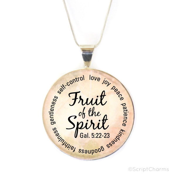 Fruit of the Spirit – Large Silver-Plated Glass Charm Necklace