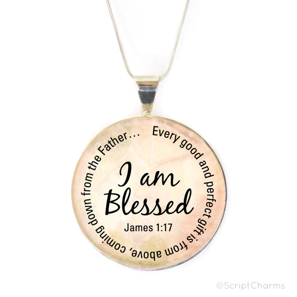 I am Blessed – Large Silver-Plated Glass Charm Necklace