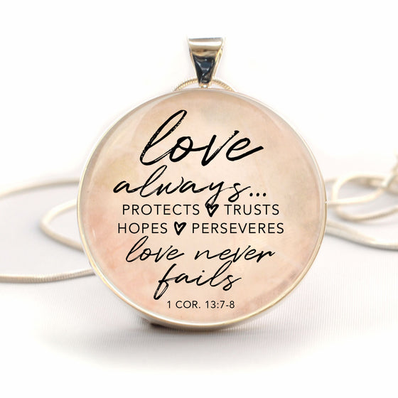 """Love Never Fails"" 1 Corinthians 13 Charm Necklace (Large)"