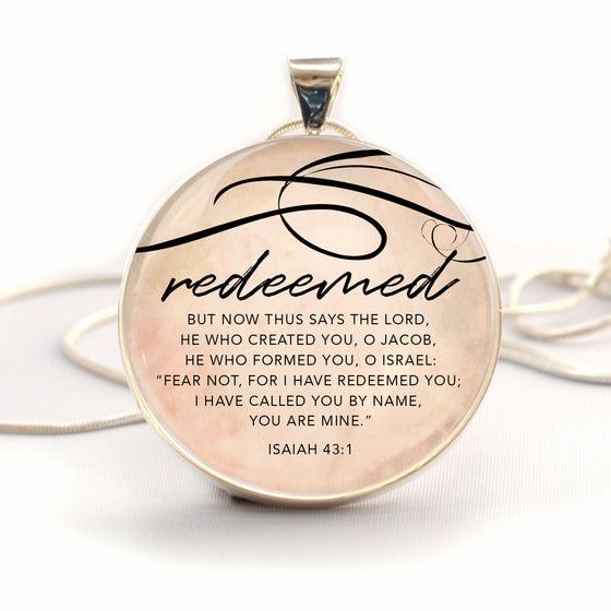 """Redeemed"" Isaiah 43:1 Bible Verse Large Silver-Plated Glass Charm Necklace"