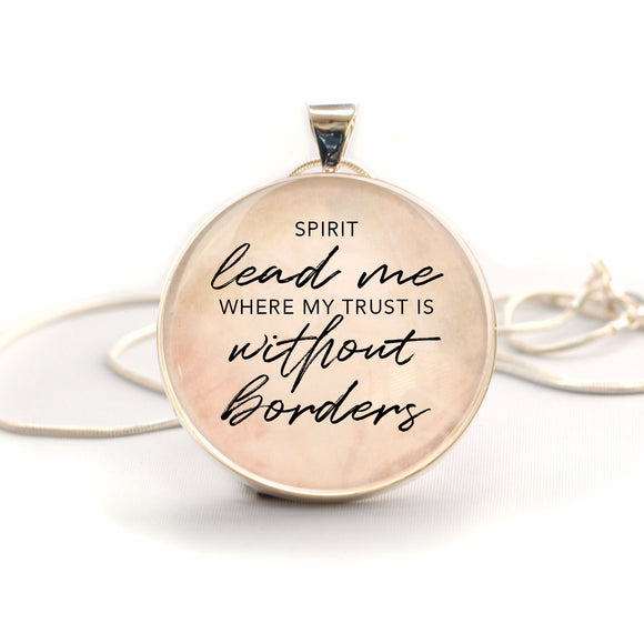 "Oceans ""Spirit Lead Me Where My Trust Is Without Borders"" Silver-Plated Christian Charm Necklace"