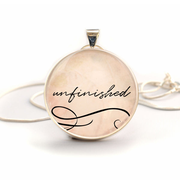 """Unfinished"" Philippians 1:6 Bible Verse Charm Necklace (Large)"