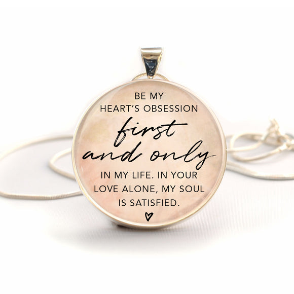 """Be My Heart's Obsession"" Christian Charm Necklace (Large)"