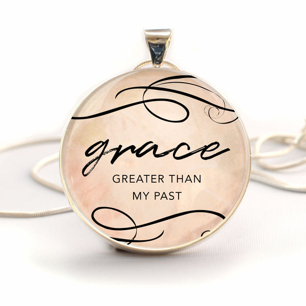 """Grace, Greater Than My Past"" Christian Charm Necklace (Large)"