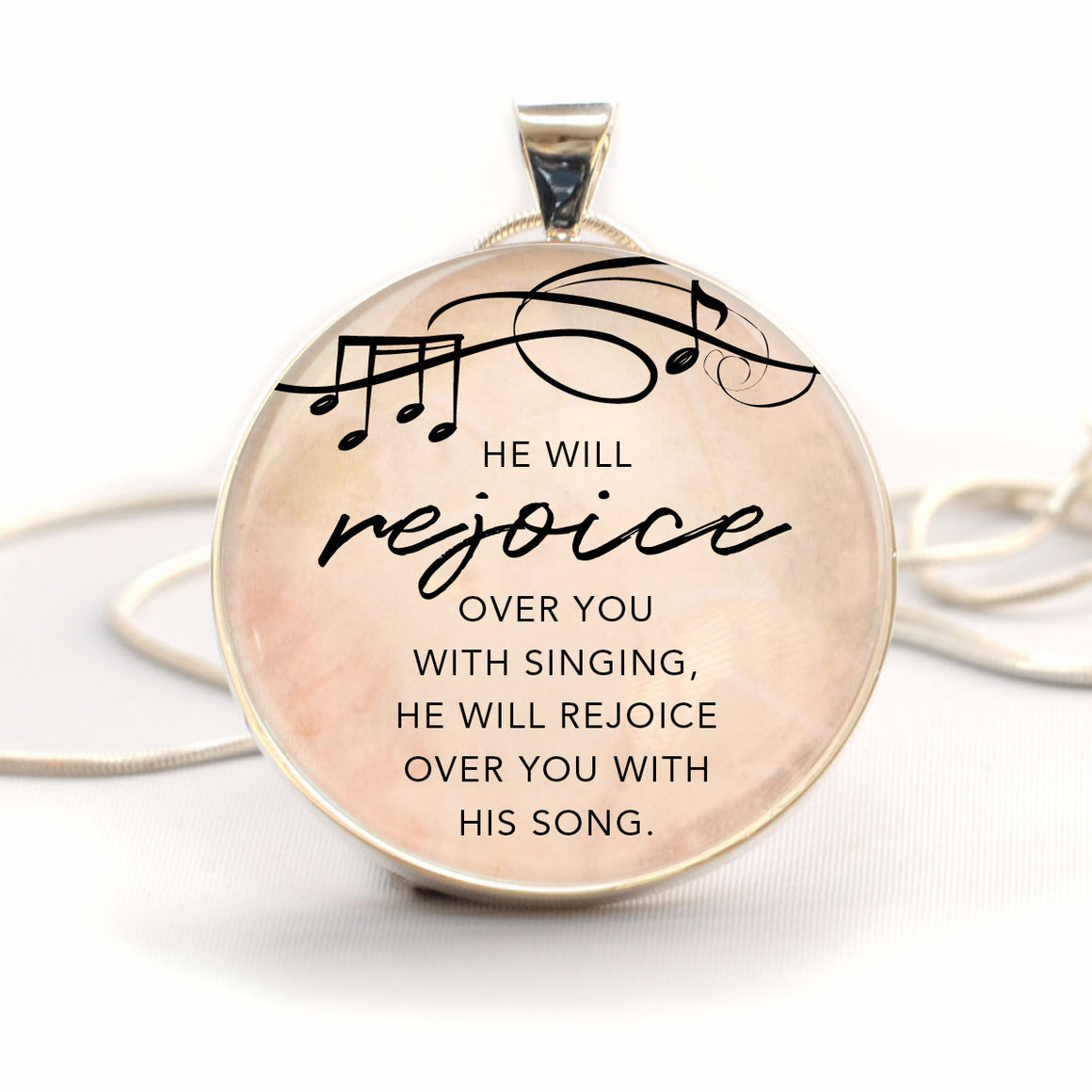"""He Will Rejoice Over You with Singing"" Christian Pendant Necklace (Large)"