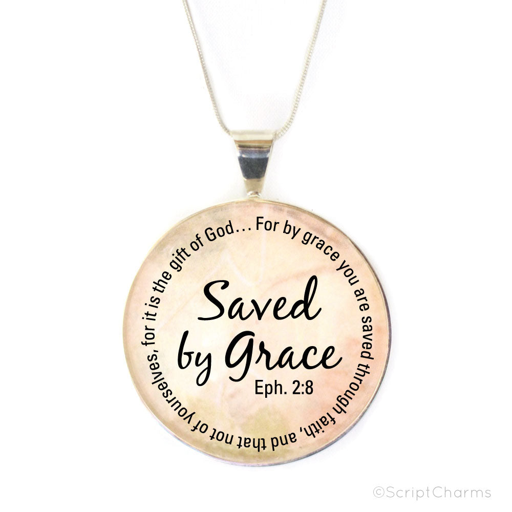 Saved by Grace – Large Silver-Plated Glass Charm Necklace