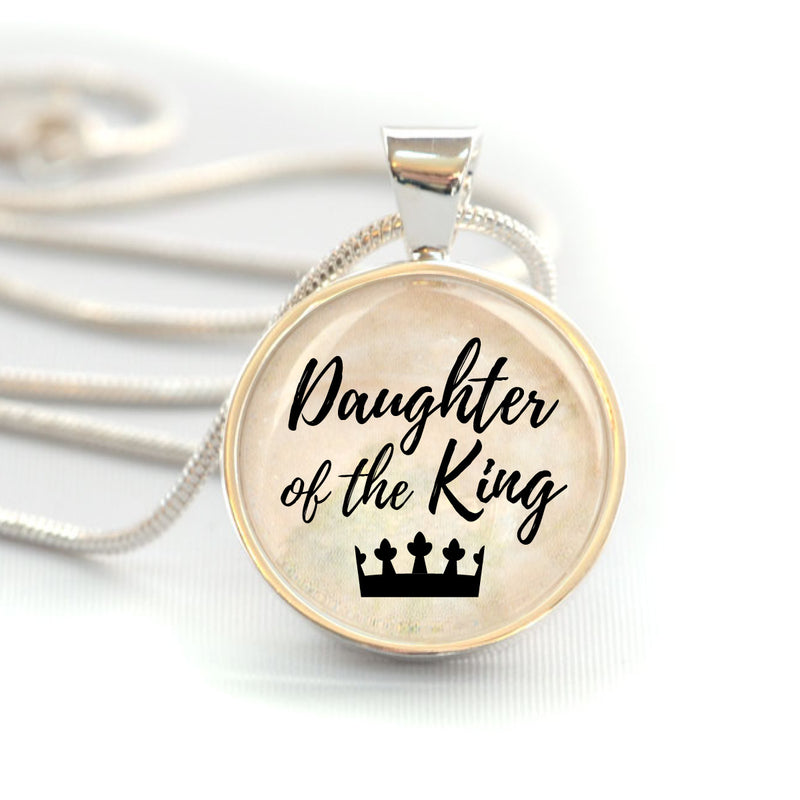 """Daughter of the King"" Christian Charm Necklace (Medium)"