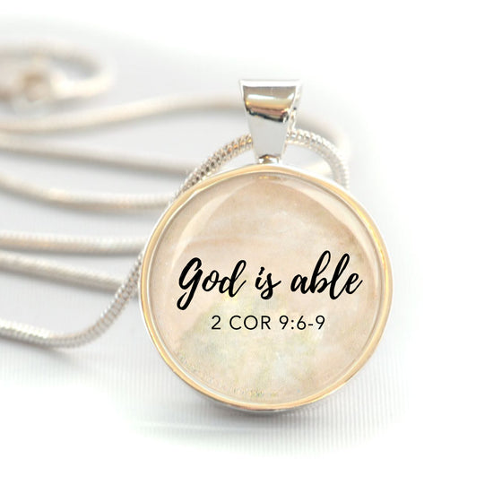 """God is Able"" Christian Charm Necklace (Medium)"