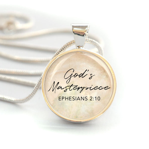 """God's Masterpiece"" Ephesians 2:10 Bible Verse Charm Necklace (Medium)"