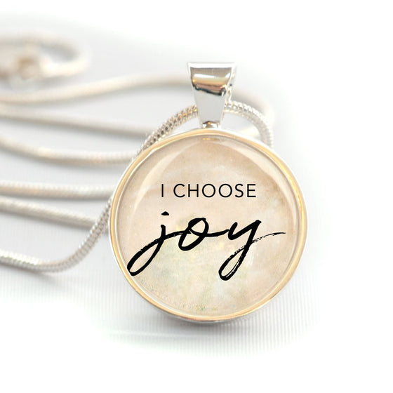 """I Choose Joy"" Christian Charm Necklace (Medium)"