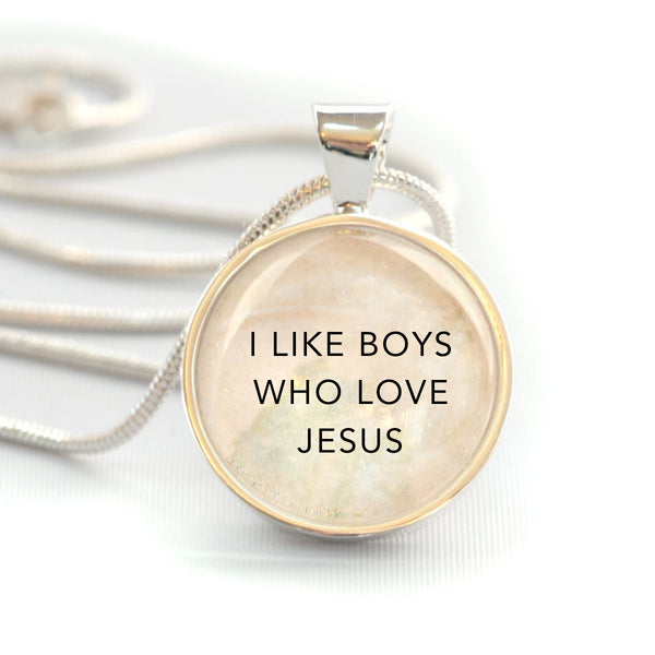 """I like boys who love Jesus"" Christian Girls Charm Necklace (Medium)"