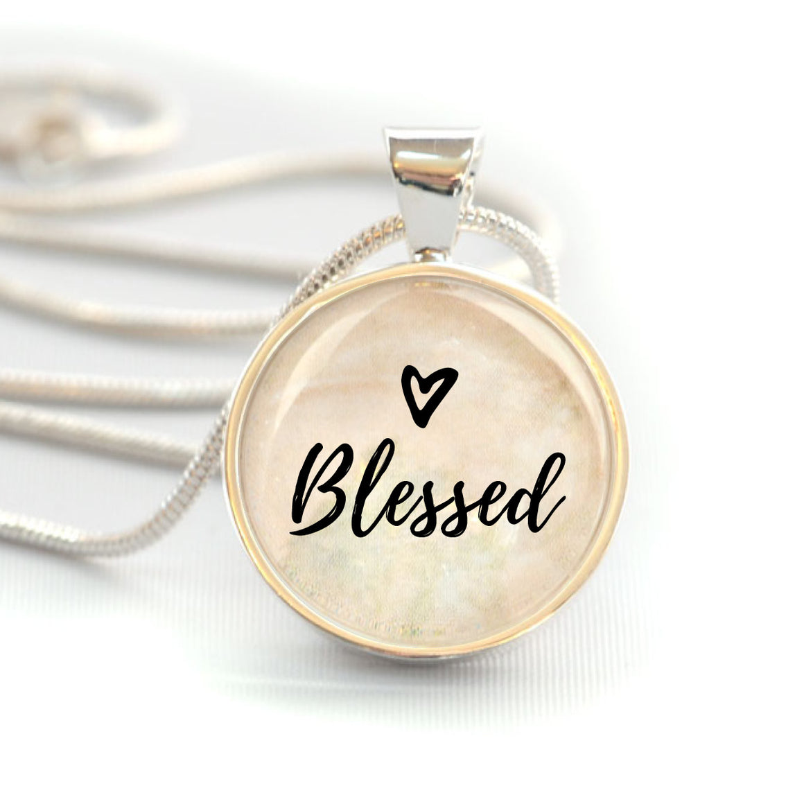 """Blessed"" Christian Charm Necklace (Medium)"