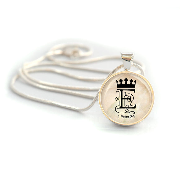 "Personalized ""You are Royalty"" 1 Peter 2:9 Christian Charm Necklace (Medium)"