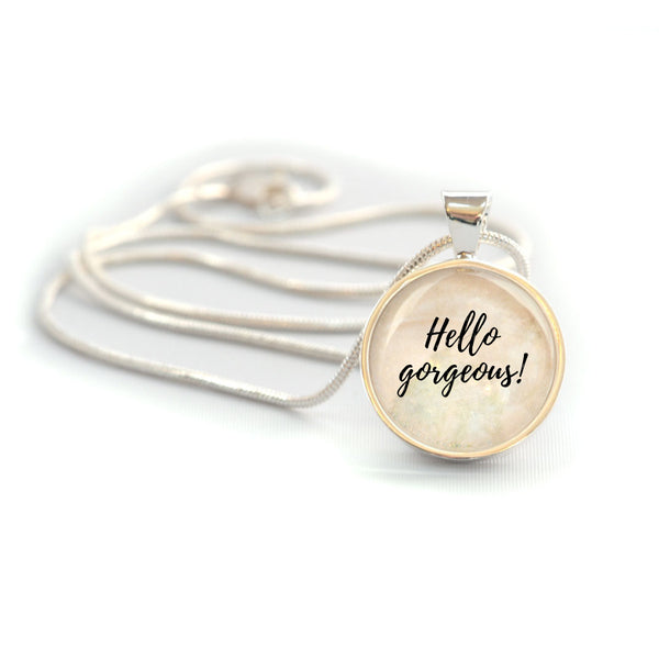 """Hello Gorgeous!"" Silver-Plated Charm Necklace (Medium)"