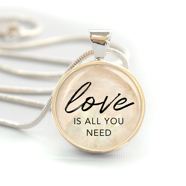 """Love Is All You Need"" Christian Charm Necklace (Medium)"