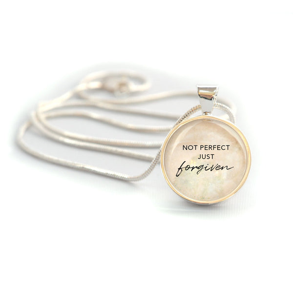 """Not Perfect, Just Forgiven"" Christian Charm Necklace (Medium)"