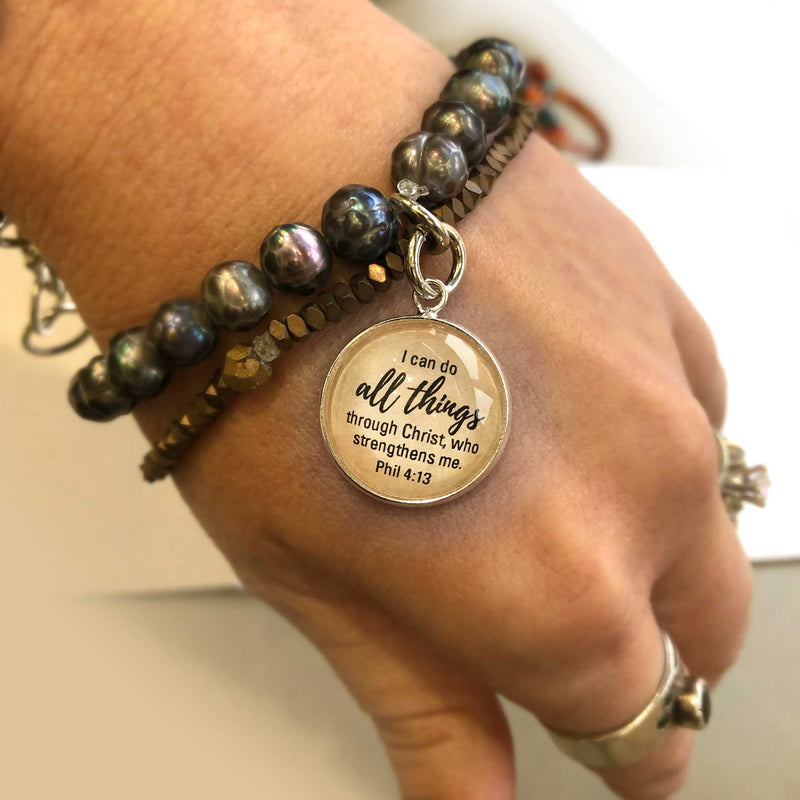 """I Can Do All Things Through Christ"" Phil 4:13 Scripture Charms for Jewelry Making"