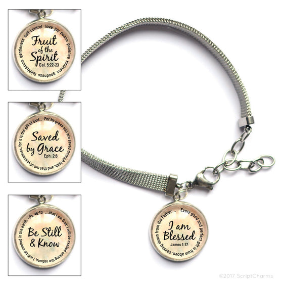 Bible Verse Charm Bracelet with Stainless Steel Mesh Chain