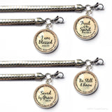 Bible Verse Charm Bracelet with Stainless Steel Snake Chain
