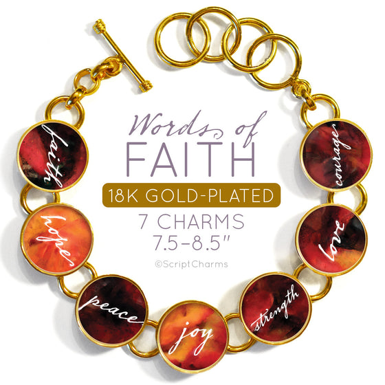 Words of Faith Colorful 18K Gold-Plated Bracelet