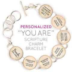 """YOU ARE... Beautiful, Strong, Redeemed"" Personalized Scripture Charm Bracelet"