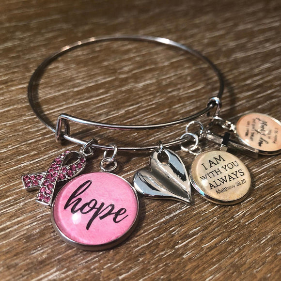 """Hope"" Pink Breast Cancer Glass Charms for Jewelry Making, 16 or 20mm, Silver, Gold"