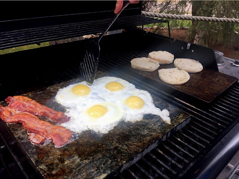 Stone Cooking Eggs, Bacon and English Muffins