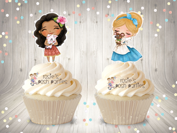 Classic Disney Princess Birthday or Baby Shower Theme Cupcake Toppers