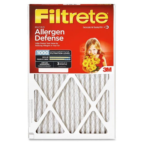 20x20x1 (19.6 x 19.6) Filtrete Allergen Defense 1000 Filter by 3M