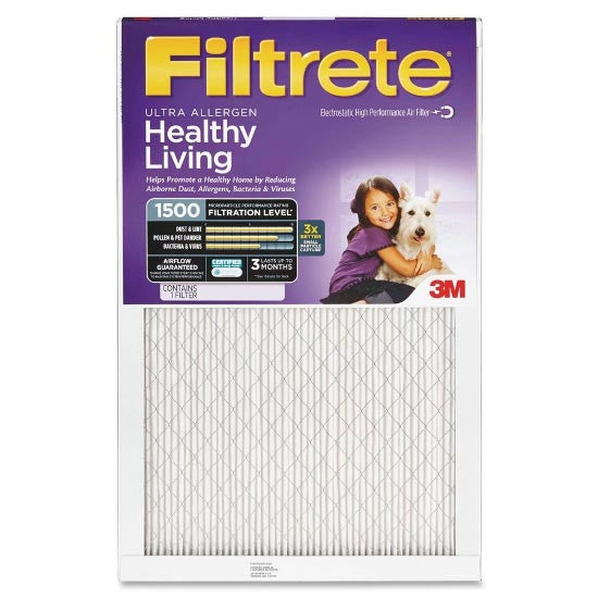 20x30x1 Ultra Allergen Reduction 1500 Filter by 3M