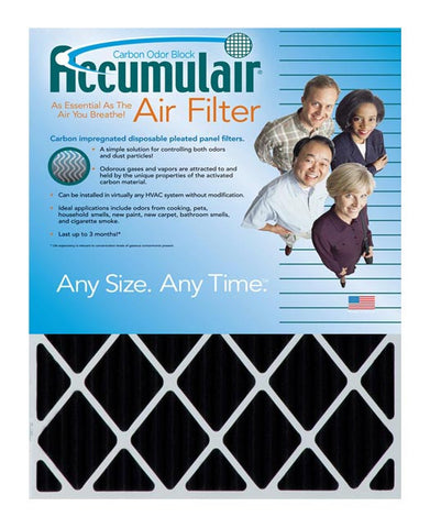 20x25x1 Accumulair Furnace Filter Carbon