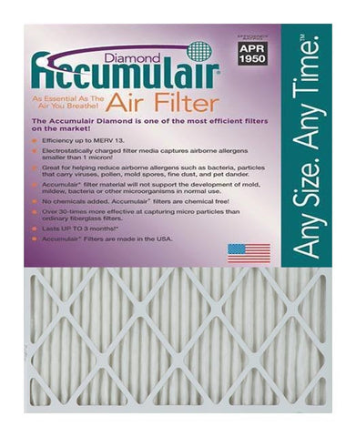 10x25x1 Accumulair Furnace Filter Merv 13