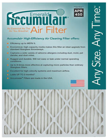 10x25x2 Accumulair Furnace Filter Merv 6