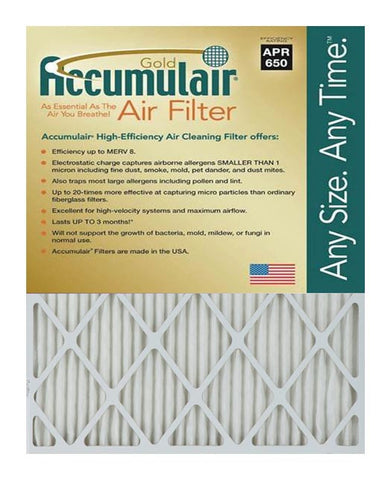 16x21.5x2 Accumulair Furnace Filter Merv 8