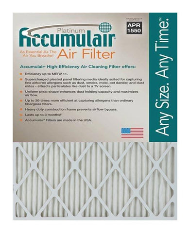 13x25x2 Accumulair Furnace Filter Merv 11