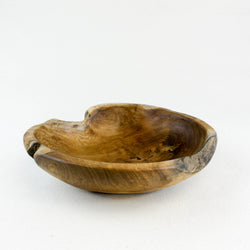 Small teak root burly bowl viewed from the front