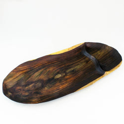 Dark oval two-section rosewood root tray viewed from above