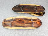 Several three-section rosewood trays